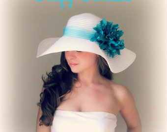 Tropic Beauty - White Floppy Hat with Big Teal Turquoise Blue Dahlia Flower for Kentucky Derby Race Church Wedding Beach or Garden Party