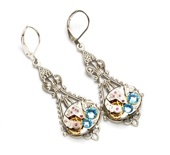 MARCH Steampunk Earrings, AQUAMARINE Steampunk Wedding Jewelry, Watch Earrings Silver Aqua Blue SteamPunk Jewelry by Victorian Curiosities