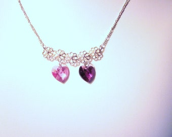 Sterling Silver Birthstone Crystal Pendant -  Choose 1 or 2 Swarovski Crystal Hearts, Birthdays, Wedding, Bride, Mothers Day, Mom