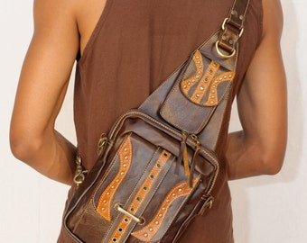 Cross body Messenger Leather Bag -PURO