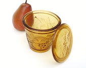 Glass Butter Keeper, Amber, Refrigerator Dish, Vintage Pressed Glass / Lidded / Golden / Grapes
