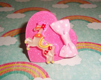 Carnival Carousel Pony Sparkly Hot Pink Heart Ring