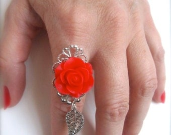 Flower Ring Red Rose Ring red flower ring silver leaf charm ring Statement Adjustable Bold Boho chic shabby chic victorian Bridesmaids gift
