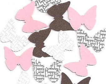 Butterfly Party Decorations - Pink and Brown Personalized Table Sprinkles