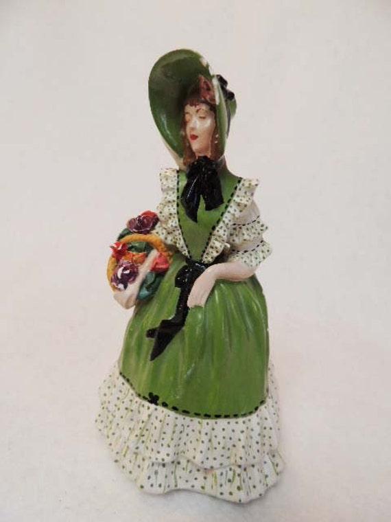 Vintage Chalkware Victorian CRINOLIN BONNET LADY Figure.. Flower Basket Charming