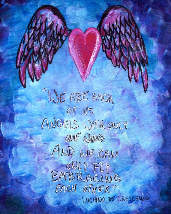 Items Similar To Inspirational Quote Art Print Angel Wings Quote Mixed Media On Etsy