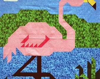 Pink Flamingo Quilt Pattern with Wall, Crib, and Lap sizes included