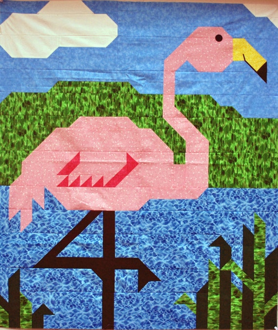Items Similar To Pink Flamingo Quilt Pattern With Wall