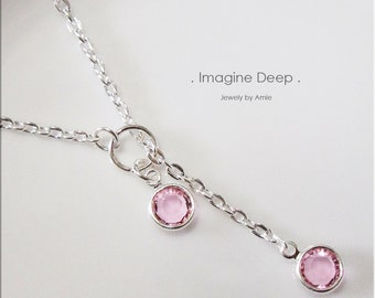 30%off SPECIAL Light Pink Lariat Necklace Y Necklace Silver Plated Soft Baby Pink Tourmaline like Swarovski Crystal Necklace