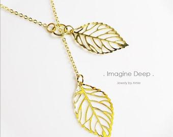 Leaf Y Lariat Necklace - 50% off SPECIAL - Gold Leaf Lariat Necklace - Yellow Gold Plated Leaves