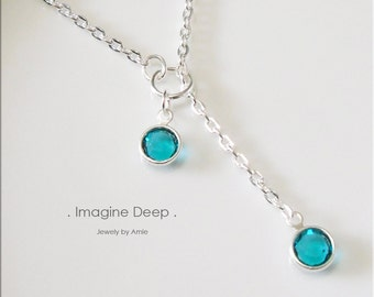 40% off SPECIAL Turquoise Aqua Blue Lariat Necklace Y Necklace Silver Plated Blue Topaz-Like Swarovski Crystal Necklace