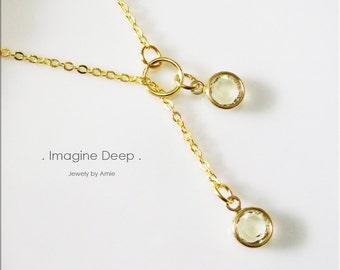50% off SPECIAL - Yellow Lariat Necklace - Gold Plated Soft Light Yellow Citrine-Like Swarovski Crystal