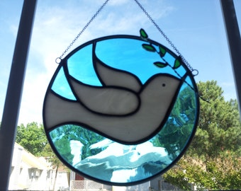 Stained Glass White Dove with Olive Branch