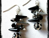 Black Silver Hematite Spike Sparkle Rock-on Dangle Beaded Earrings - landandcjewelry