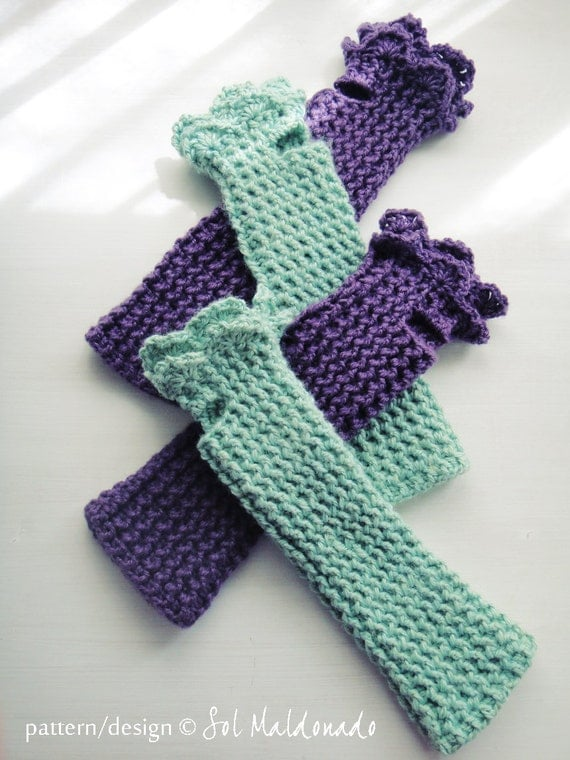 Crochet Fingerless Gloves Pattern Beginner : Crochet Fingerless Pattern Mittens Grace PDF beginners by ...