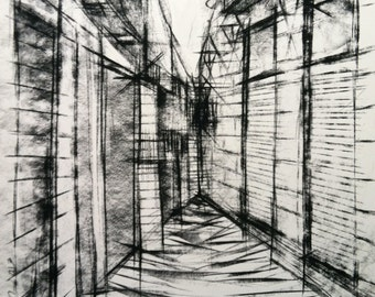 """City Street in Europe: Original Charcoal drawing on watercolor paper 18""""x24"""" black and white architectural city alley street urban buildings"""