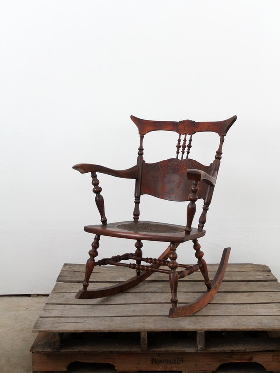 Antique Rocking Chair with Tooled Leather Seat