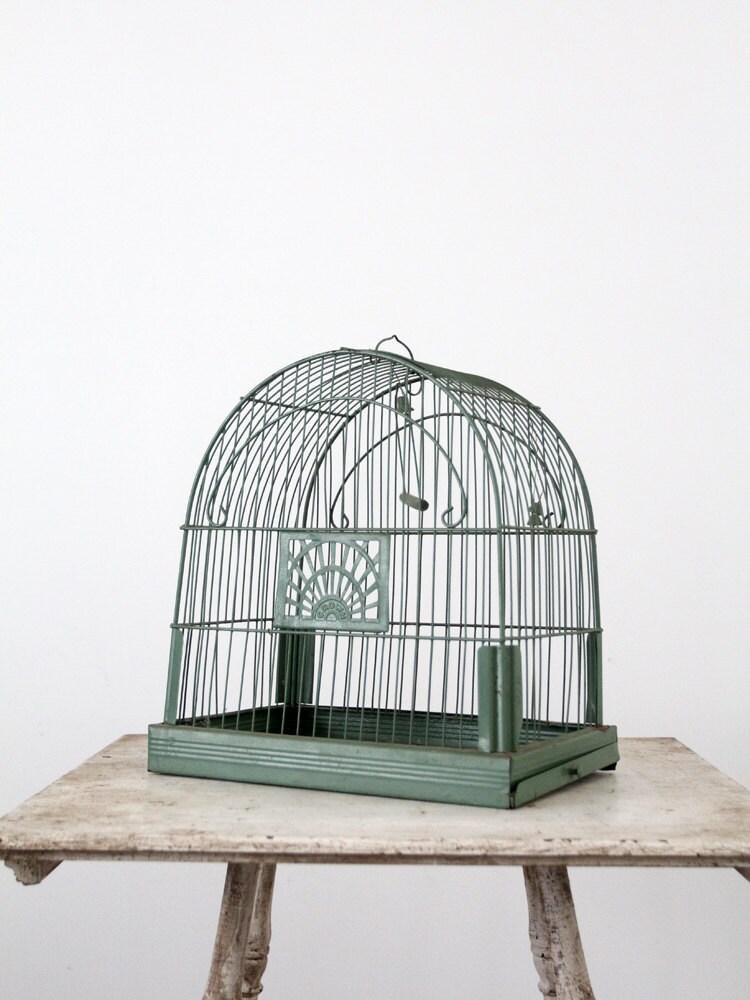 Antique Birdcage Mint Green Bird Cage Crown Birdcage