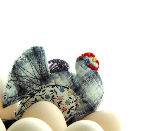 Textile Hen - Handmade Ornament - Kitchen Decor - Funny Gift