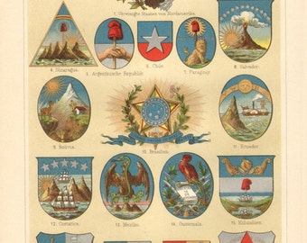 1897 Coat of Arms of American States Original Antique Chromolithograph