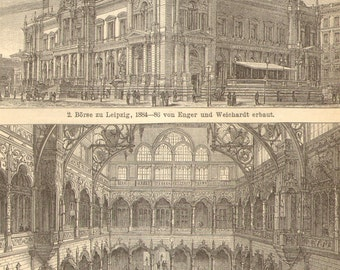 1903 Original Antique Engraving of Stock Exchange Buildings in the 19th Century