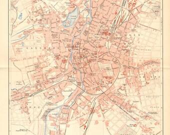 1902 Original Antique City Map of Chemnitz