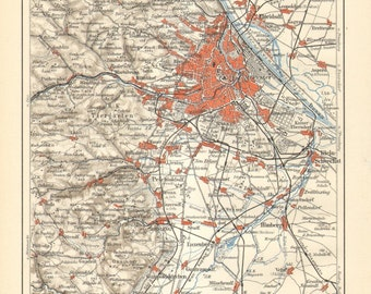 1897 Original Antique Map of Vienna and its Surroundings