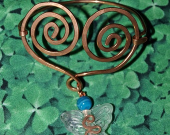 Copperwork Bracelet Celtic Heart with Butterfly and Blue Striped Agate
