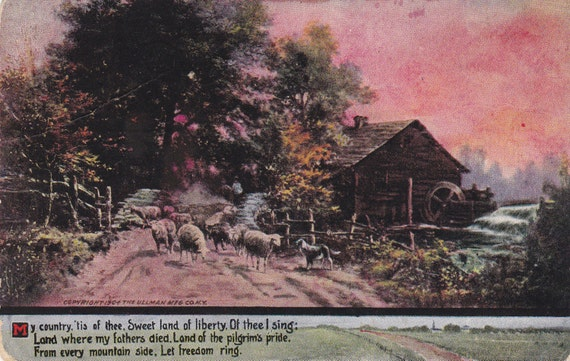 My Country 'tis of Thee, Sweet Land of Liberty- Original National Anthem- America- 1900s Antique Postcard- Used