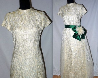 Nuptials .... vintage 60s wedding dress / 1960s bridal gown / mod formal cocktail / ivory brocade / mid century mad men .. XXS XS S
