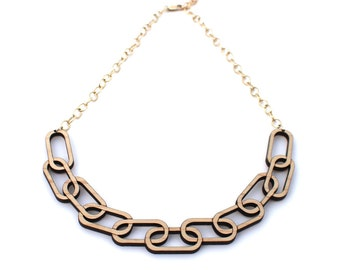 Chain Link Wooden Necklace - Laser Cut Wooden Chain Link with Gold Chain Necklace
