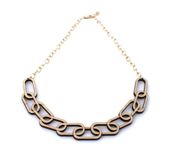 Etsy Chain Necklace Chain Link Wooden Necklace
