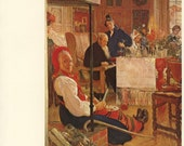 Vintage Art Print, Carl Larsson, Christmas At Sanborn, Grandma Smiles, Swedish Artist, Printed in 1976, Antique Picture