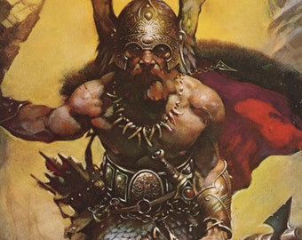 Fantasy Art, Dark Kingdom Detail, Dwarf Warrior WIth Axe, Lord of the Rings, Frank Frazetta, Antique Print, USA, 1975