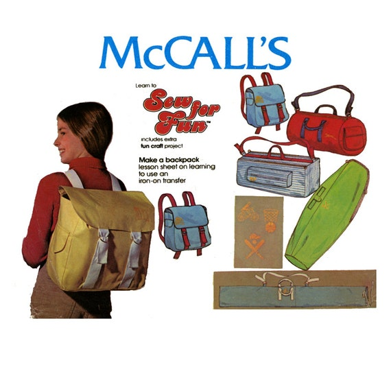 Vintage Tote Bags and Back Pack Sewing Pattern McCalls 5651 1970s Sport Bags and Carry All Bags Tennis Golf Ski Bags UNCUT