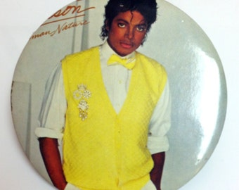 Vintage Michael Jackson pinback button,King of Pop button,Human Nature,Thriller
