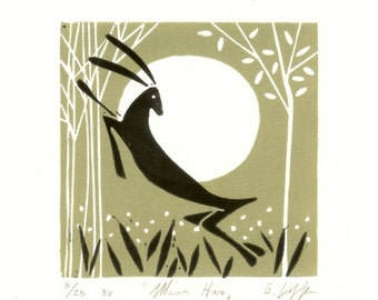 Hare and Moon Linocut - Printmaking - Rabbit Hand Pulled Lino Print - Green and Black Magical Forest, Limited Edition by Giuliana Lazzerini.