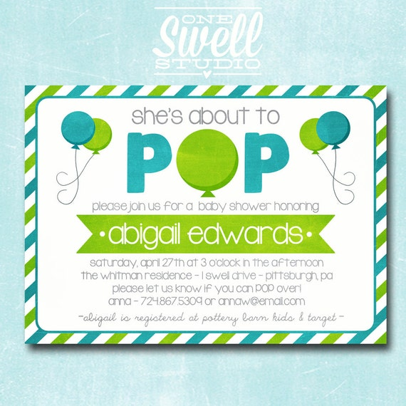 similar to about to pop ready to pop balloon invitation baby shower