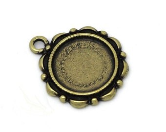 Cabochon Settings | Bezels : 10 Antique Bronze 14mm Cabochon Settings | Pendant Blanks | Bezels - Lead, Nickel & Cadmium Free H3A
