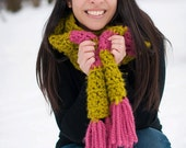 Chunky Crochet Scarf, Citron and Pink Stripes fringe