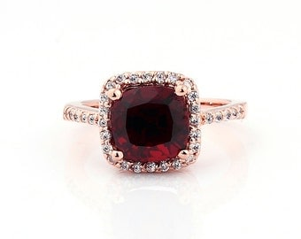 Natural Cushion Red Garnet Solid 14K Rose Gold Diamond engagement Ring