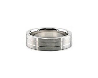 6mm  Inner Fingerprint Ring -  14k White Gold Diamond Cut  Engraving Wedding Band, yellow gold option. WBW-638-6