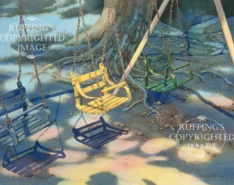 The Yellow Swing Giclee Fine Art Print, Playground Scene, Blue, Green Signed A E Ruffing, on 8.5 x 11 inch art paper