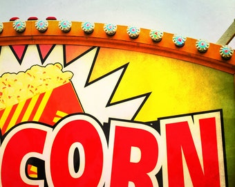 Retro Popcorn Sign Photograph Funky Red and Yellow Wall Art Corn Kitchen Art Restaurant Art 8x8