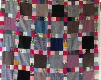 Vintage BLOCK PATCHWORK Quilt TOP - Rich Beautiful Fabrics