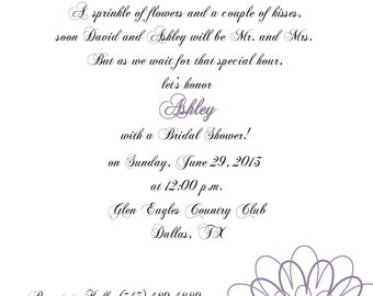 Bridal Shower Invitation Lavender and Green Floral -  Bachelorette Party, Rehearsal Dinner, Birthday Party, Printed