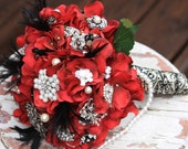 Red Brooch Bouquet gothic red black feathers vintage bouquet