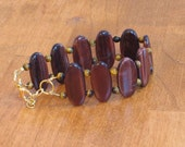 Red Tiger Eye Cuff Bracelet (B1046)