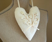 Hanging Valentine Heart with Ivory, Pearl, and White Floral Button Posy -White on White Decor/ Shabby Chic Hearts