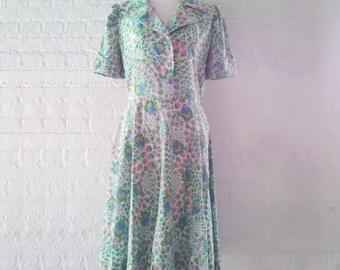 1950s Blue Floral Fit and Flare Dress 50s Vintage Shirt Dress Cotton Shirtwaist Portrait Collar Full Skirt Med Multicolor Garden Party Dress